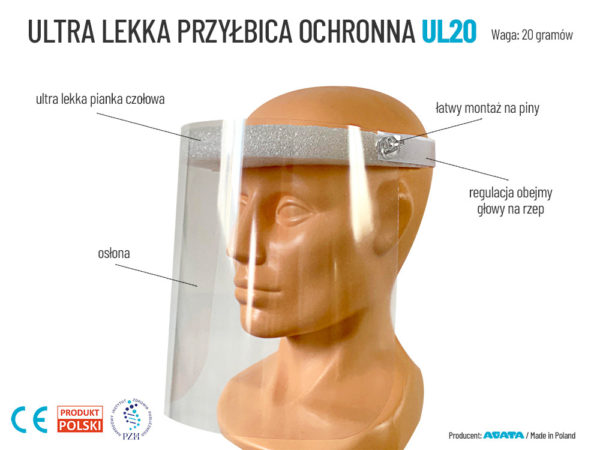 Lekka przyłbica ochronna UL20